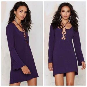 Nasty Gal Purple Lace Up Long Sleeve Dress